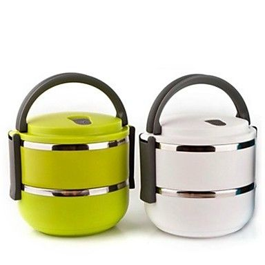 Stainless Steel Portable Double-deck Insulated Lunch Box, Color Random14.5x14.5x14.5cm - USD $ 19.49