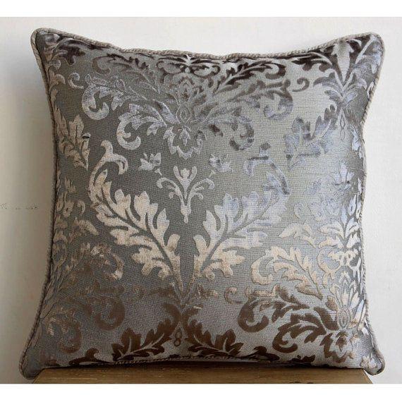 "Damask 20""X20"" Burnout Velvet Grey Throw Pillow Covers - Gray Silver Damask"