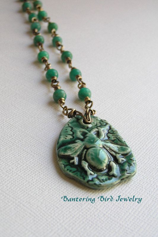 Antiqued Brass Bee Rosary Long Emerald Green Beaded Necklace