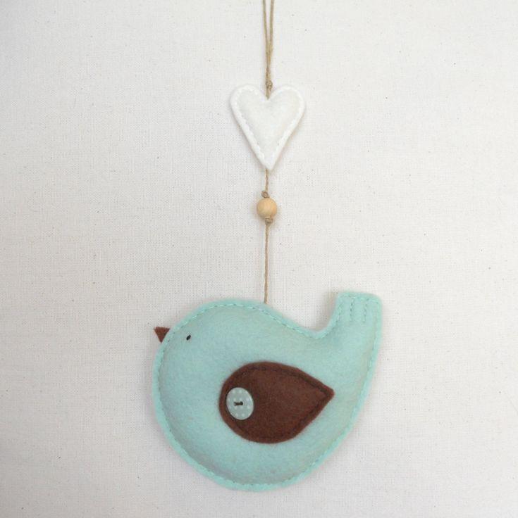 PDF pattern - Felt bird with heart ornament. Felt ornament, nursery decoration. €5.00, via Etsy.