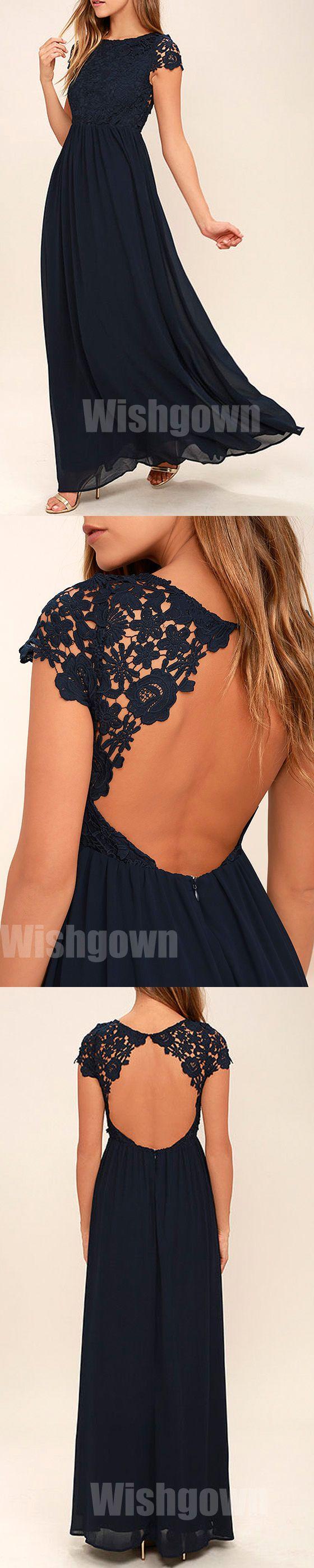 Cap Sleeves Navy Blue Lace Top Chiffon Backless Long Bridesmaid Dresses, WG466 #bridesmaids #wedding #weddingpartydress
