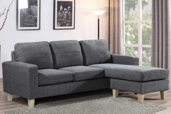 Admaston Charoal Grey Fabric Compact 3 Seater L Shaped Corner Sofa Cheap Sofa Beds Cheap Sofas Grey Corner Sofa
