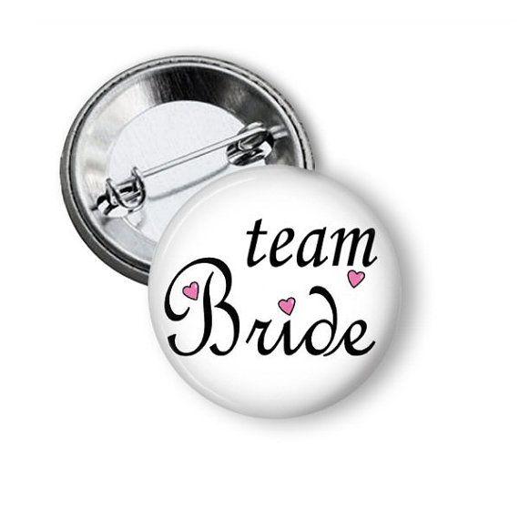 Team Bride Button Bride Pinback Button by NannyGoatsCloset on Etsy