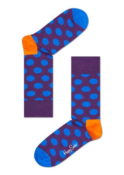 Chaussettes à gros pois chez Happy Socks® - Pois bleus sur fond violet - un talon orange et des orteils bleus pour finir.
