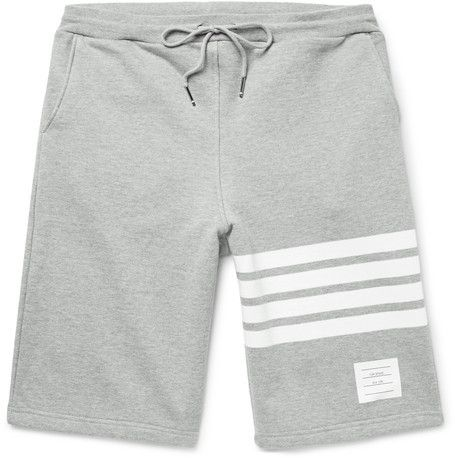 Thom Browne - Striped Loopback Cotton-jersey Shorts - Gray..