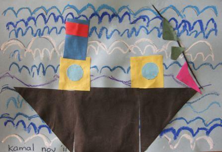 Schrijven en rekenen - Schrijfpatroon met wasco en met vormen de stoomboot maken.