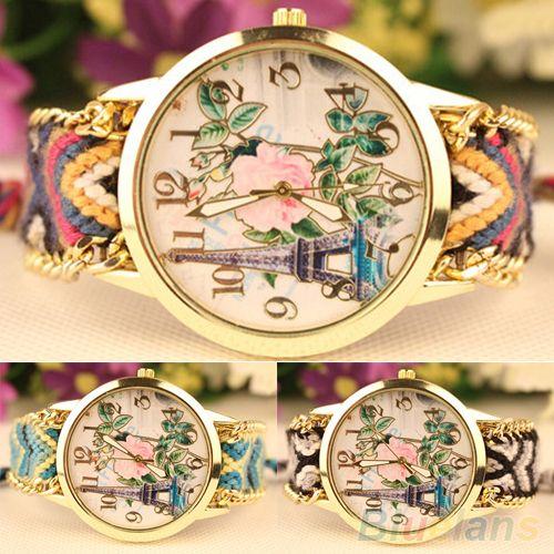 Дешевое Женская старинные вязаные эйфелева башня роза кварцевые аналоговые браслет наручные часы 2MQC 2U2B, Купить Качество Наручные часы непосредственно из китайских фирмах-поставщиках:  Хороший выбор для подарка или украшения.  Трикотажные наручные часы предназначены с Эйфелевой башни и роза цветок, кото