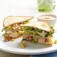 Tuna Club Sandwiches with Roasted Pepper Sauce AB: Only made one layer but it was good and yummy.  Very simple to make. @bhg