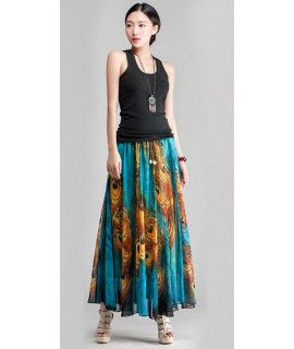 Mystical Blue And Orange Georgette Skirt.