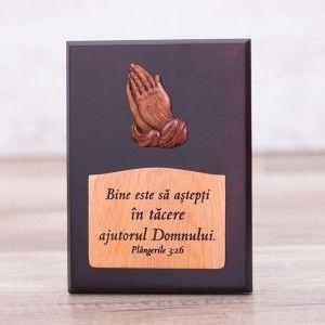 """Tablou din lemn """"Bine este sa astepti in tacere ajutorul Domnului"""". #woodenboard"""