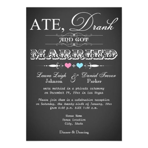 chalkboard style wedding reception only invite - Wedding Reception Invitation Wording