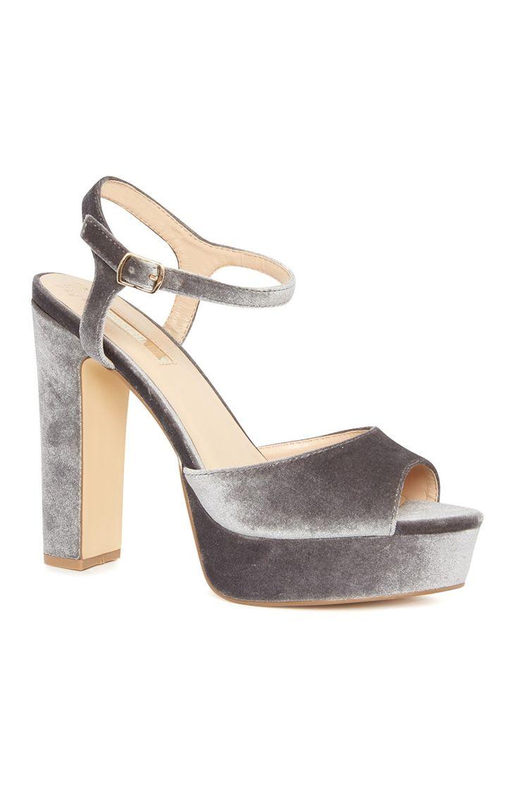 Primark - Grey Velvet Platform Sandals