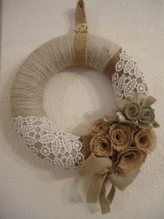 Burlap and lace wreath - this would be beautiful in the kitchen window with just a bit more color.:
