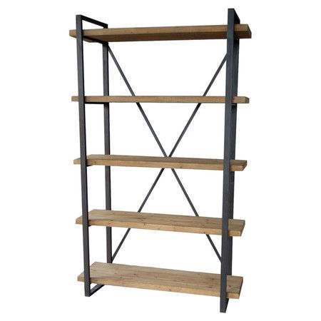 Display your favorite novels and framed photos on this 5-tier bookshelf, crafted of fir wood and iron for industrial-chic appeal.    ...