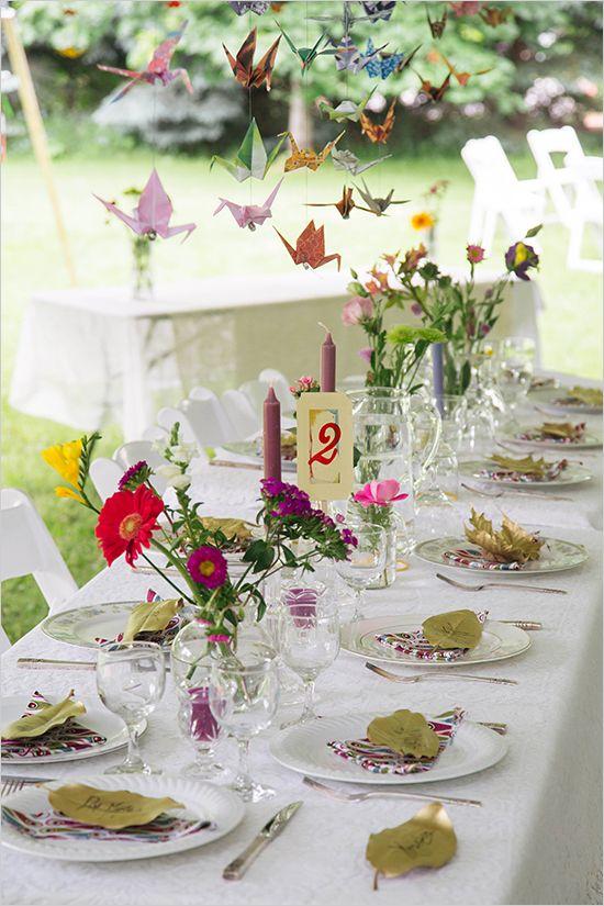 paper crane wedding reception @weddingchicks