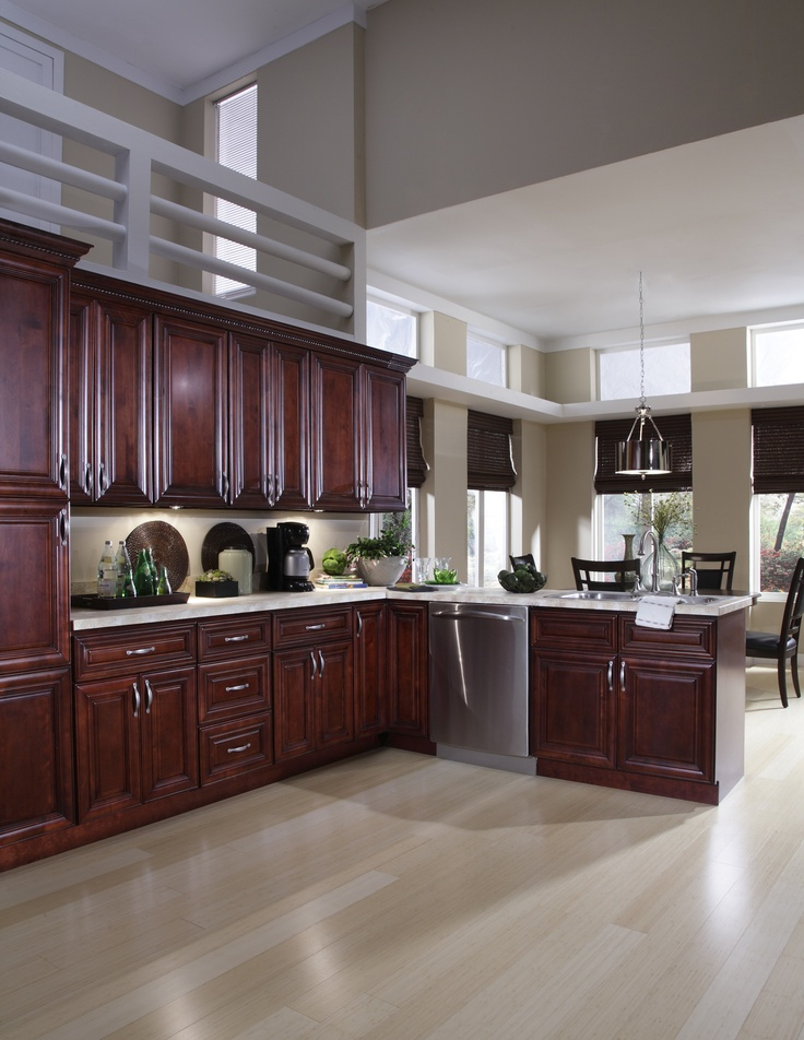 St James Mahogany Kitchen features soft closing