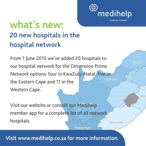 We've added 20 hospitals to our hospital network for the Dimension Prime Network options: four in KwaZulu-Natal, five in the Eastern Cape and 11 in the Western Cape. Click here for more added benefits: http://www.medihelp.co.za/blog-article?g=an-improved-lifestyle-with-medihelp