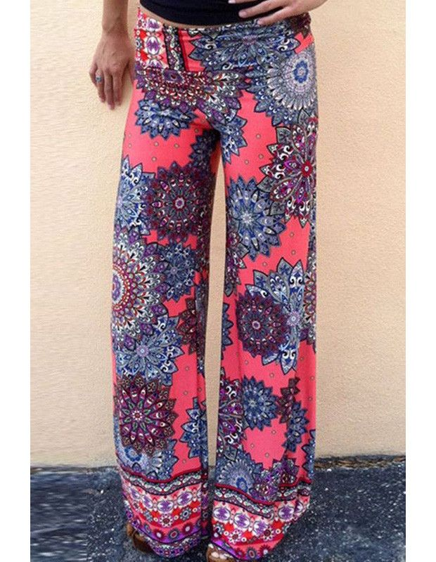 Womens Wide Leg Floral Tribal Print Palazzo Pants