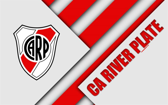 Download wallpapers CA River Plate, logo, emblem, Argentine football club, 4k, material design, white red abstraction, Buenos Aires, Argentina, football, Argentine Superleague, First Division