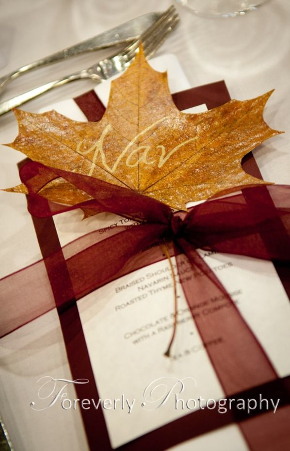 If we ever decide to have a ceremony, I love the idea of printed leaves. Autumn.