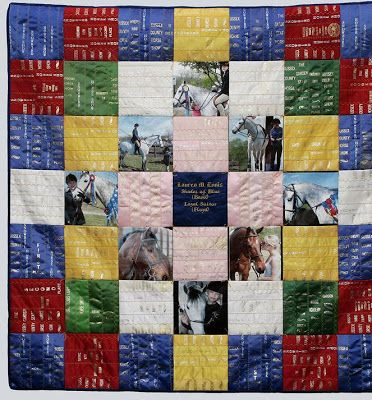 horse show ribbon quilt with photos