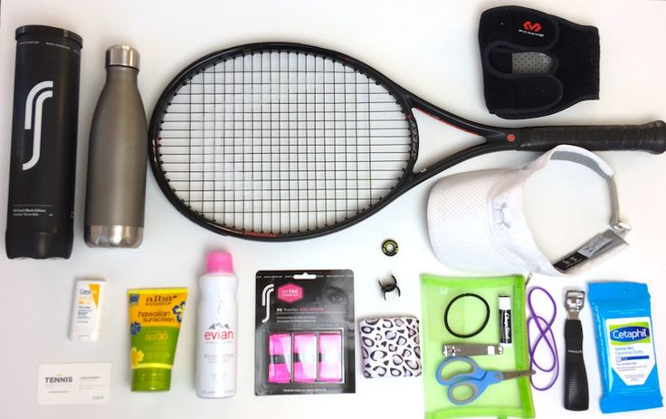 My tennis bag contents. Just added #evianspray