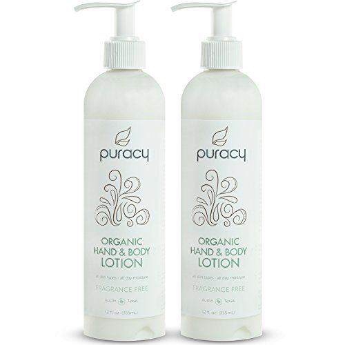 Puracy Organic Hand and Body Lotion, Lightweight Unscented Natural Moisturizer for All Skin Types, Developed by Doctors, Fragrance Free, 12 Ounce Bottle, (Pack of 2) *** You can get additional details at