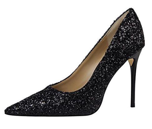 Zapato Negro Brillo #ModaCalzado #AmazonModa #Outfit #Fashion #Tacones #ModaOtoñoInvierno #Glitter #Purpurina #Negro #Silver #Zapatosmujer #Mujer