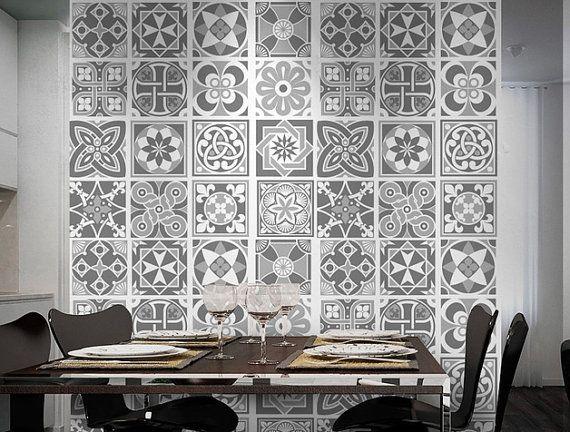 Grey Scale Tile Stickers - Tiles Decals - Tiles for Kitchen Backsplash or  Bathroom - PACK