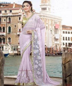Buy Light Purple Lycra Party Wear Saree 77879 with blouse online at lowest price from vast collection of sarees at Indianclothstore.com.