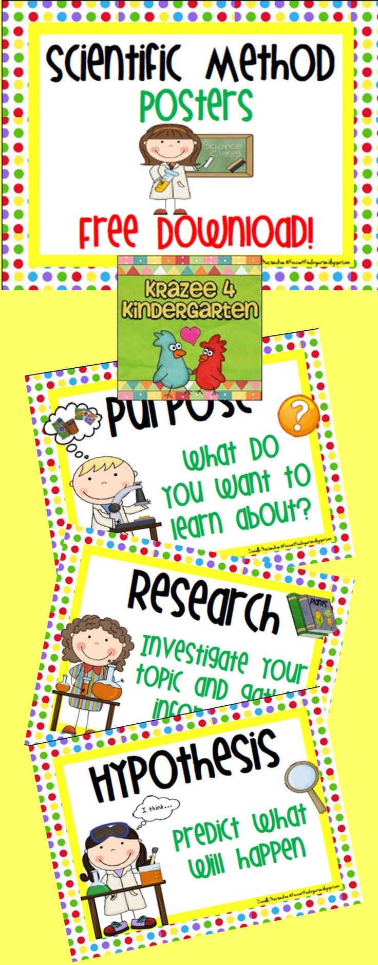 "Free (and really cute!!) Scientific Method Posters....Follow for Free ""too-neat-not-to-keep"" teaching tools & other fun stuff :)"