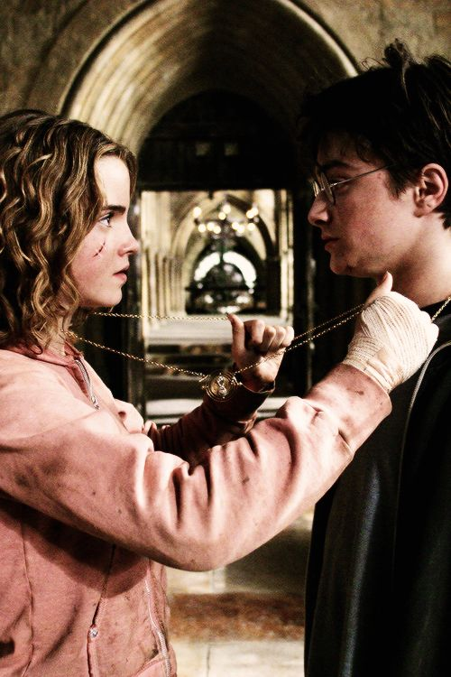 Hermione and Harry with the time turner in HP and the Prisoner of Azkaban.