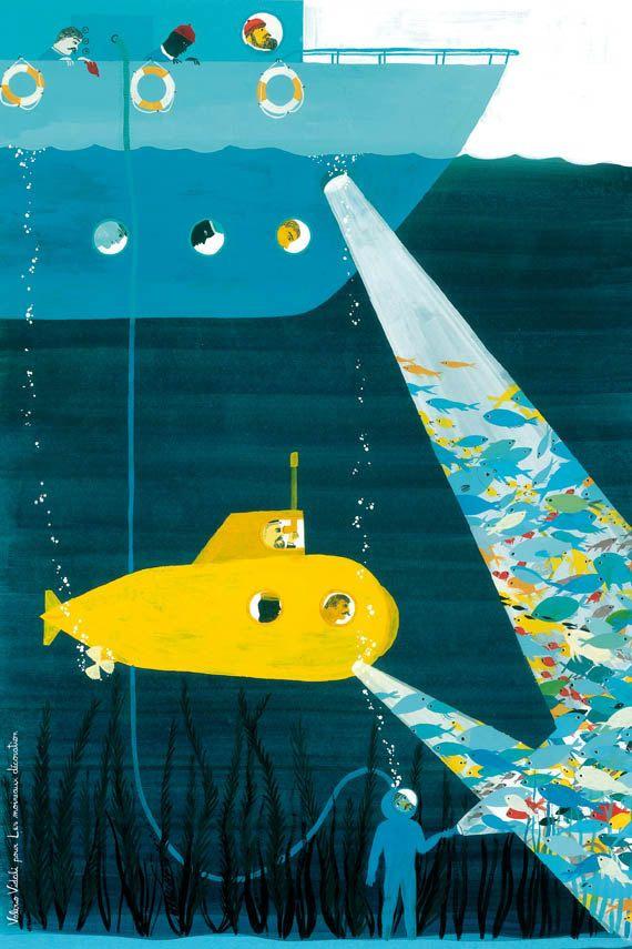 Children's art print poster  Under the sea  by lesmoineauxdeco, $28.00