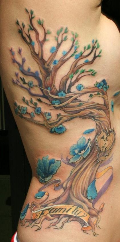 97b144bf3 Knots with SZ and AA in tree with trunk branching out under girls tattoo    Tattoo Ideas   Blue flower tattoos, Family tattoos, Torso tattoos