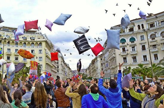 Pillow fights take place every year in Aristotelous square.