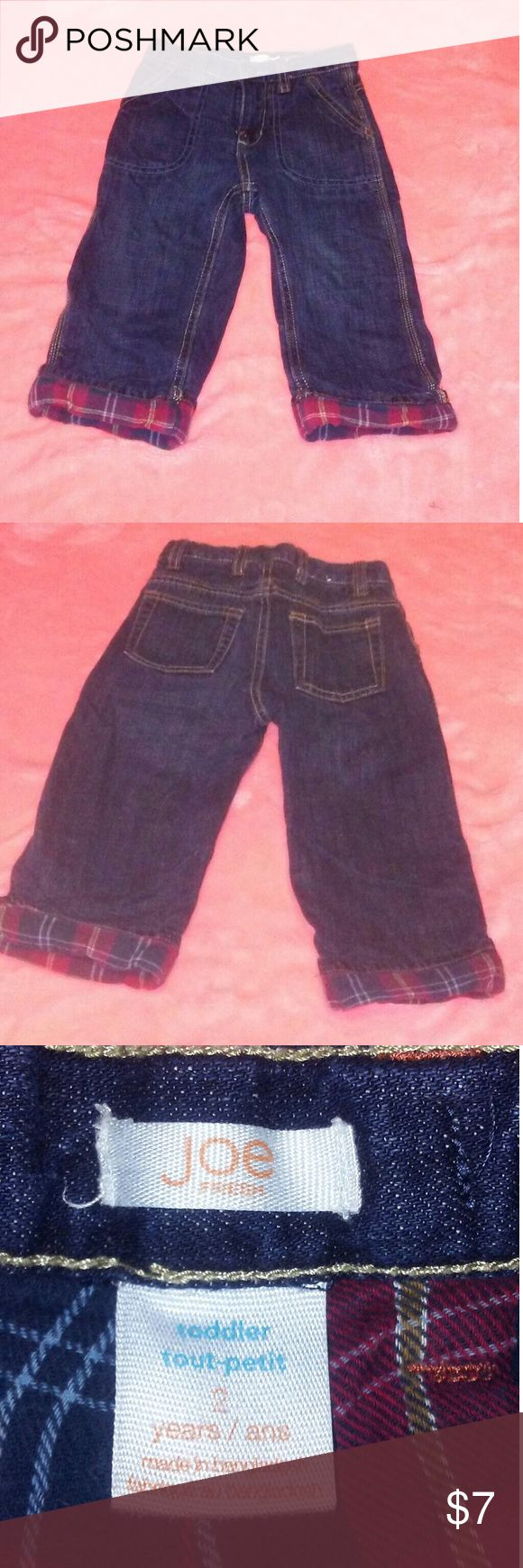 Joe Fresh Blue Jeans Size 2t Joe Fresh Dark Wash Blue Jeans with Red Plaid fabric pn the bottoms of the pant legs Joe Fresh Bottoms Jeans