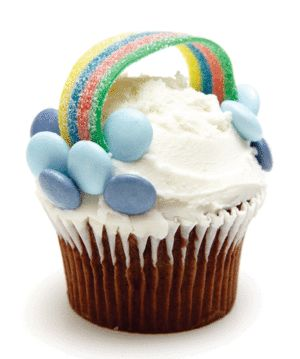 Treat guests to rainbow cupcakes.