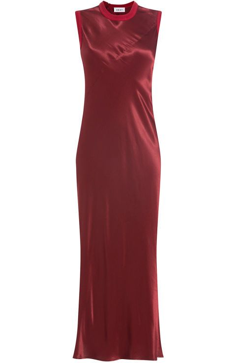 12 Chic (and Warm) Dresses to Wear to a Winter Wedding We found the perfect formal winter outfits to wear.   A red hot cocktail dress that was made for layering with a button-up shirt or a turtleneck in the winter time.  DKNY Satin Dress, $369; stylebop.com.