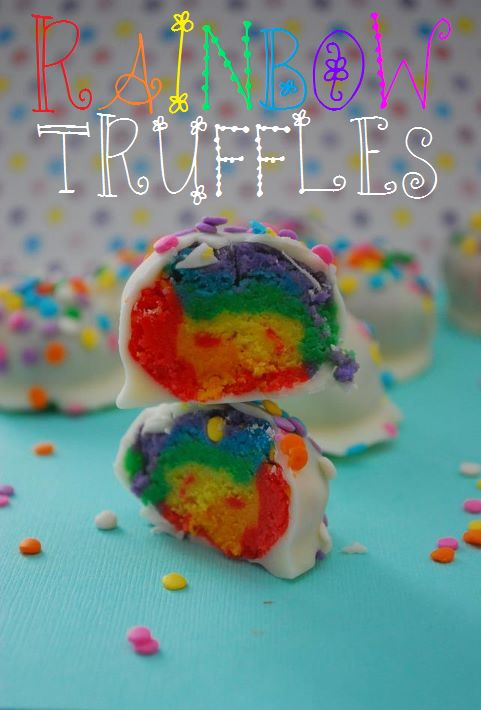 It's actually super easy to make these show-stopping rainbow truffles. They'll be perfect for birthday parties or to make with kids! #truffles #candy #rainbow #cake