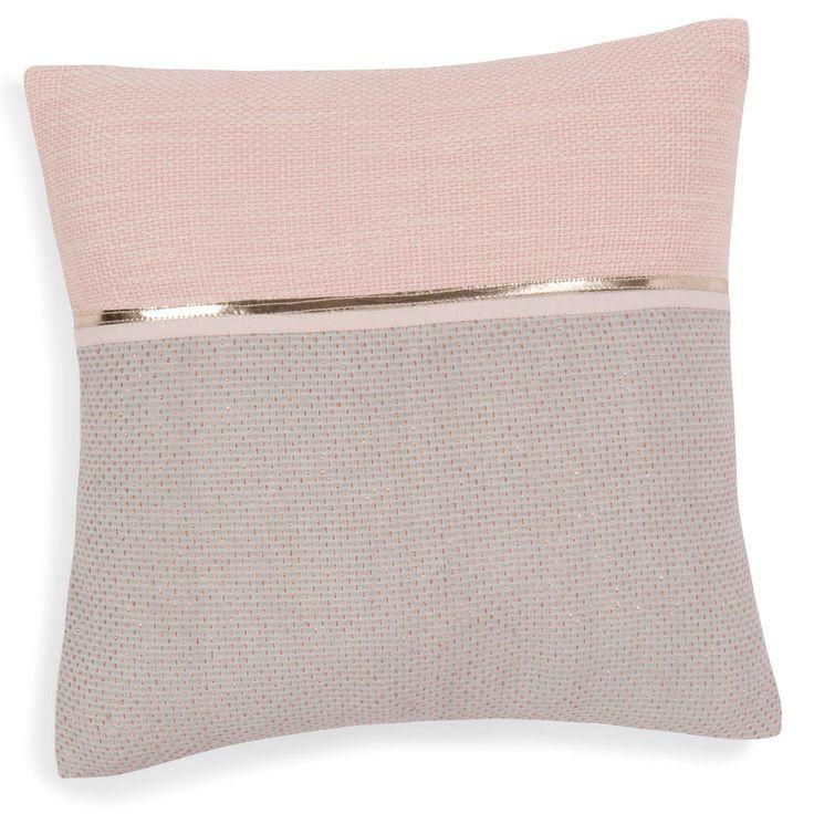 Housse de coussin en coton rose/gris ...