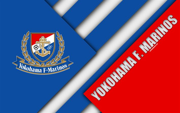 Download wallpapers Yokohama F Marinos FC, 4k, material design, Japanese football club, blue red abstraction, logo, Yokohama, Kanagawa, Japan, J1 League, Japan Professional Football League, J-League