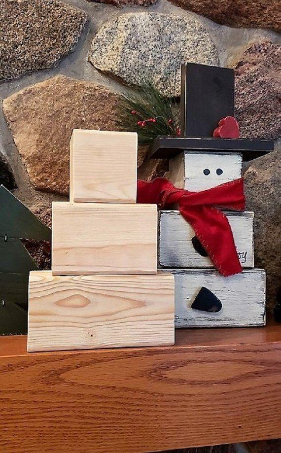 Snowman blocks, DIY Snowman set, Make your own snowman, Kids project, Unfinished blocks, Large snowman blocks, Staggered blocks