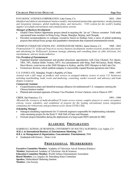 entertainment executive resume example - Example Of Executive Resume