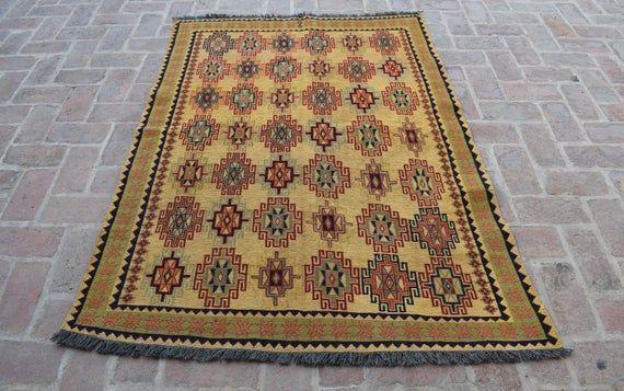 Size: 181 x 131 cm, Beautiful Handmade Vintage Afghan Best Quality Soumak Area Kilim, Decorative Han