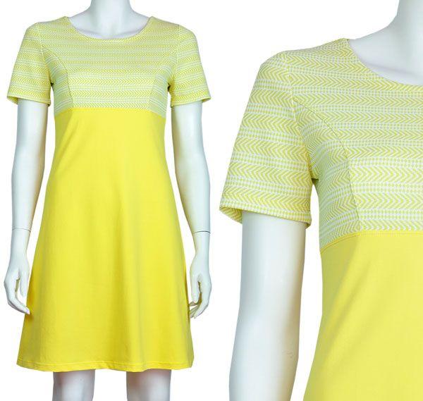 Jurkje Emma, gerend model, empire taille, gele katoenen tricot met een geelwitte jaren 60 trevira. Pop Rok