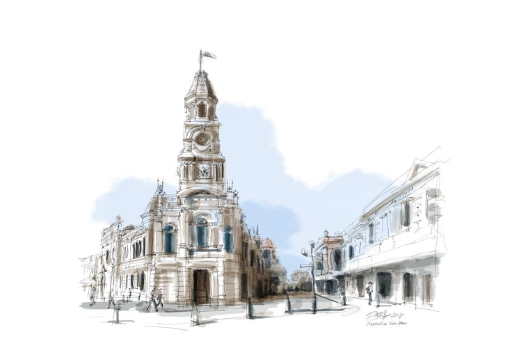 Dave Hendroff Illustrations Fremantle Town Hall Freehand Sketch A5 print