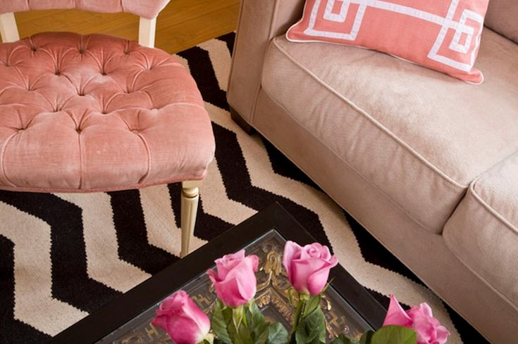 Suzie: Marmalade Interiors - Gorgeous pink & tan living room with pink velvet tufted chair West ...