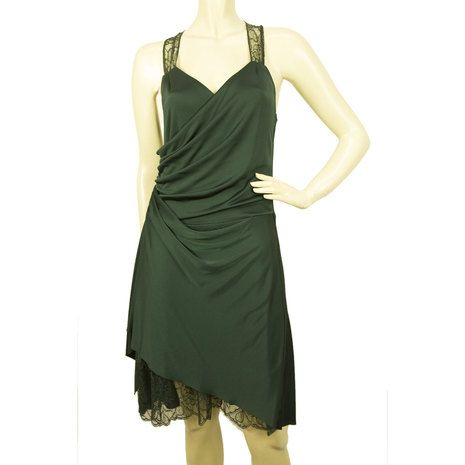 Cris Barros Dark Green Lace Sleeveless Knee Length Cut Back Draped Dress P / S