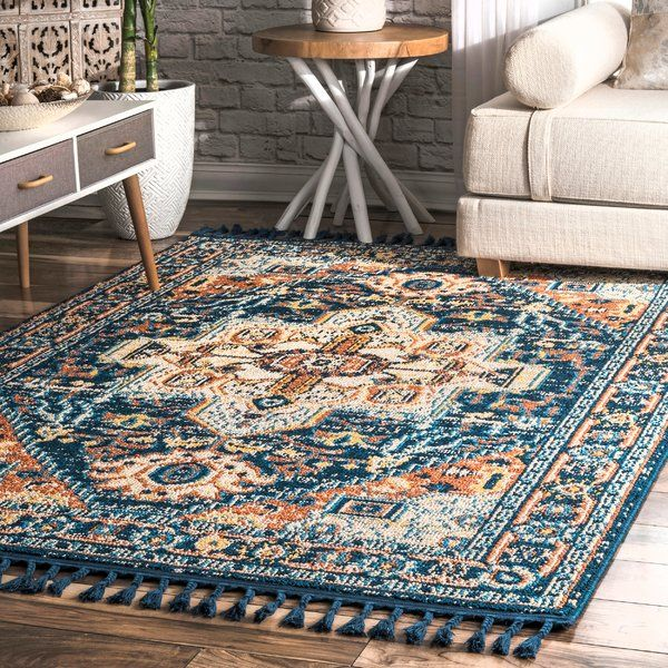 Colville Orange Blue Area Rug With Images Blue Area Rugs Blue