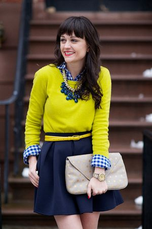 Gingham Button-down : Gap  | Lime Sweater: F21  | Navy Skirt : Topshop UK  | Blue Necklace : F21  | Nude Clutch : Accessorize  | Yellow Belt : JCrew  | Gold Ballet Flats: c/o Olivia Childs